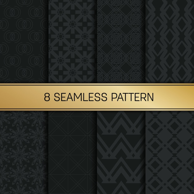 Monochrome geometric pattern background set. Premium Vector