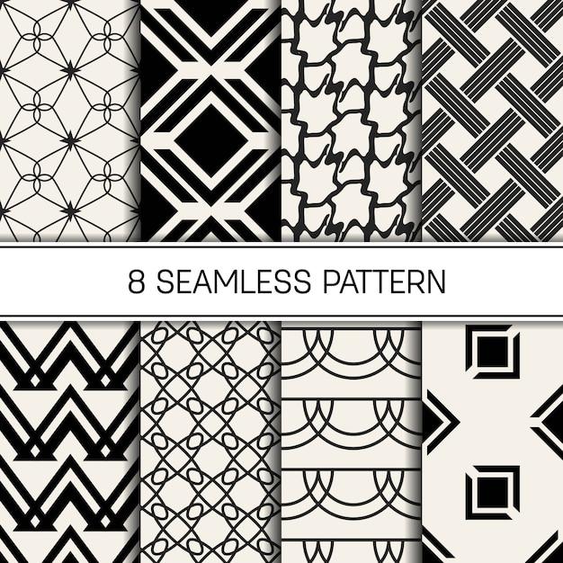Monochrome geometric pattern set Premium Vector
