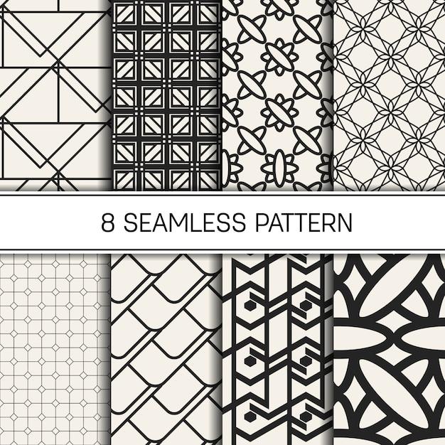 Monochrome geometric pattern set. Premium Vector