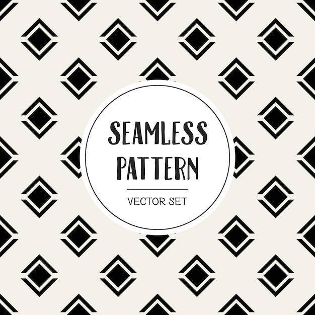 Monochrome geometric seamless pattern background. Premium Vector