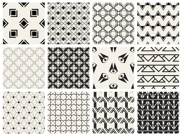 Monochrome geometric seamless pattern set. Premium Vector
