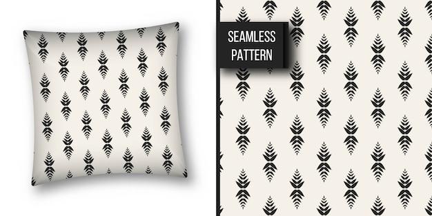 Monochrome geometric seamless pattern. Premium Vector