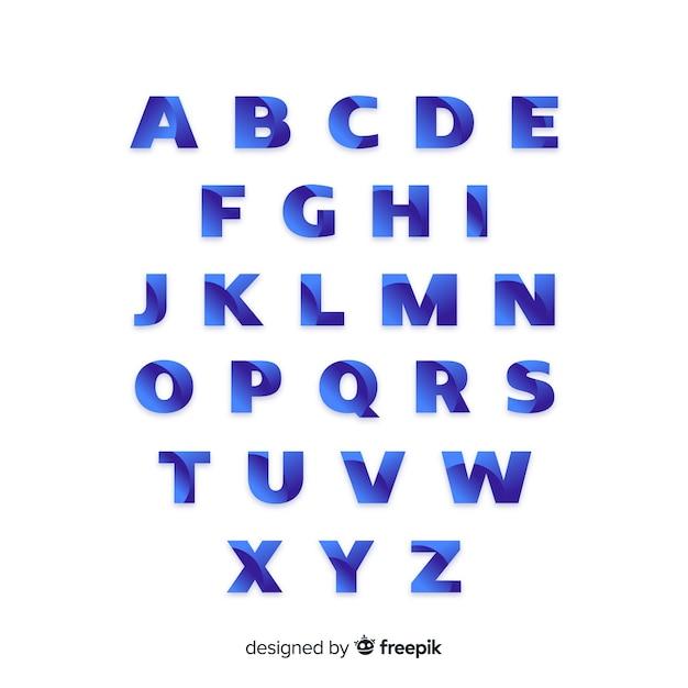 Monochrome gradient alphabet template Free Vector