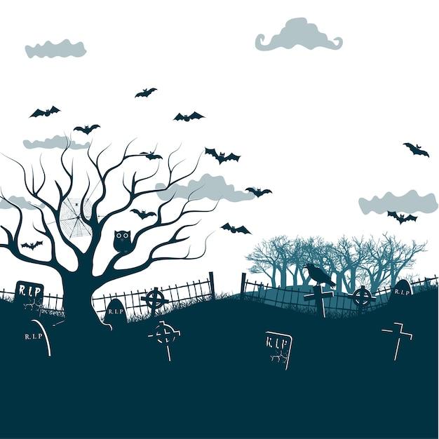 Illustrazione monocromatica di notte di halloween nei colori neri, bianchi, grigi con croci scure del cimitero, albero morto e pipistrelli Vettore gratuito