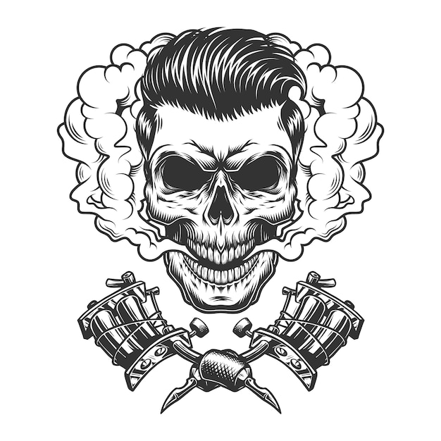 Monochrome hipster skull in smoke cloud Free Vector