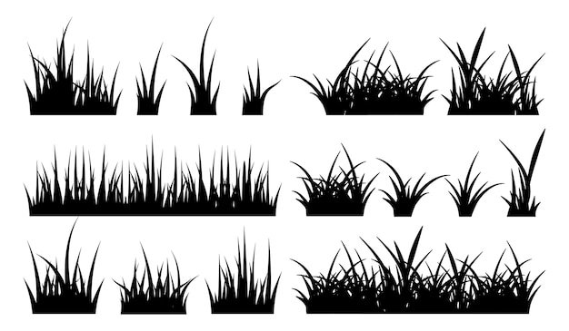 Monochrome illustration of grass.  black silhouettes nature grass field Premium Vector