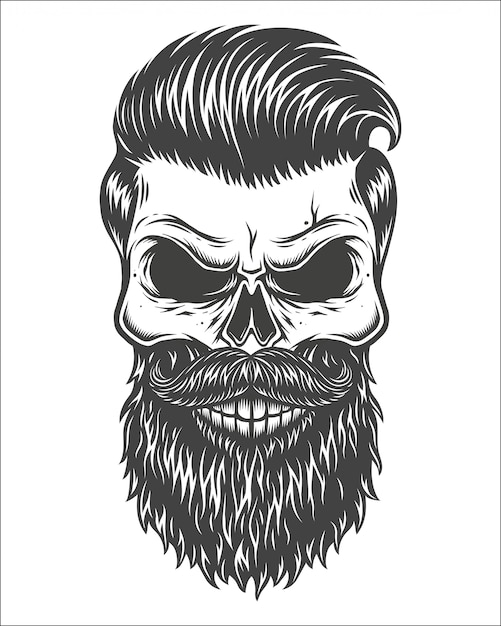 Монохромный рисунок черепа Premium векторы