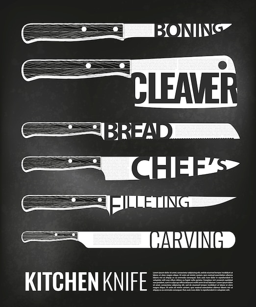 Monochrome kitchen knives scheme set Free Vector