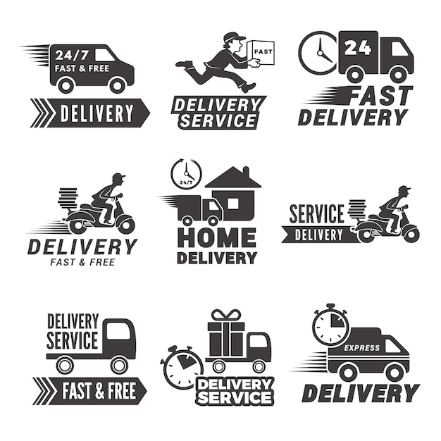 Monochrome labels and icons for delivery service Premium Vector
