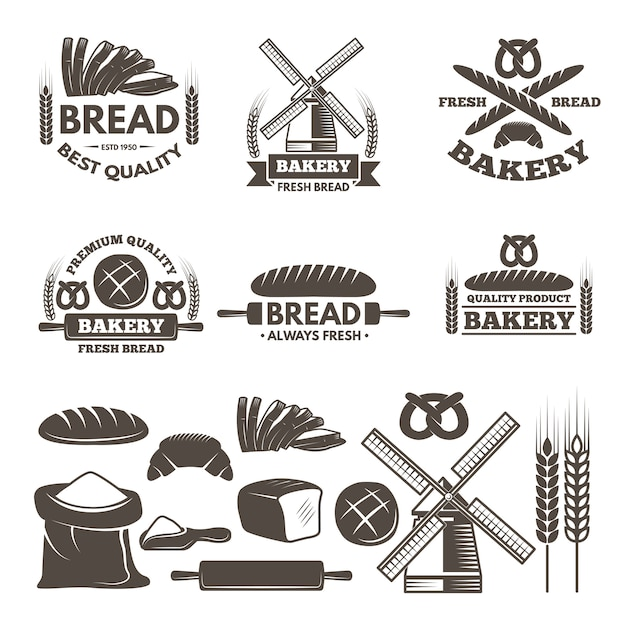 Monochrome labels set for bakery shop. Premium Vector