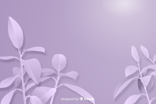 Monochrome leaves background in paper style Free Vector
