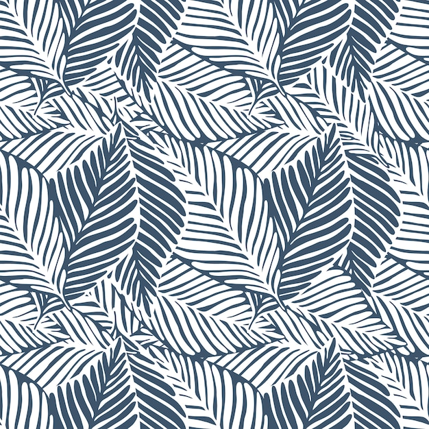 Monochrome leaves jungle print. tropical pattern, palm leaves seamless. exotic plant. Premium Vector