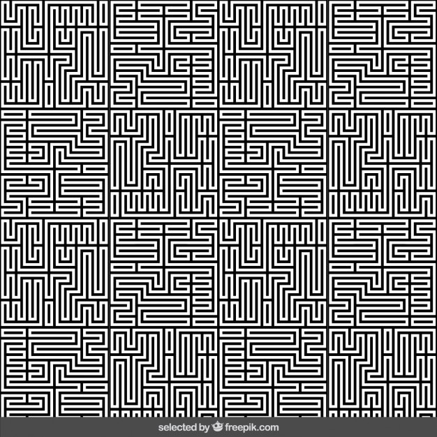 Monochrome maze abstract background Free Vector