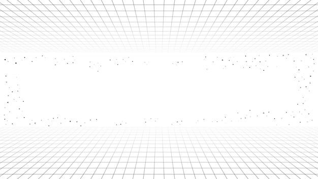 Monochrome minimal retro line background, style futuristic synth retro wave Premium Vector
