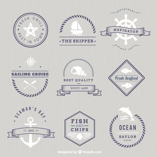 Monochrome nautical badges Free Vector