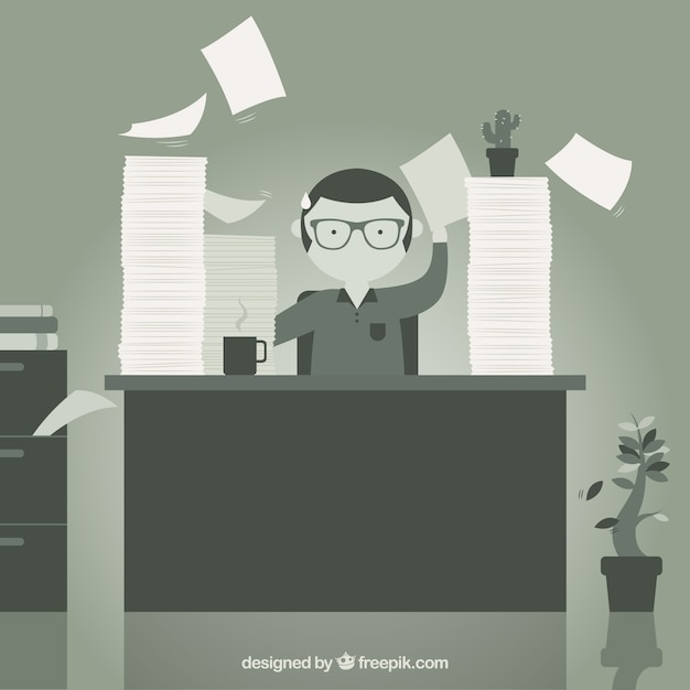 Monochrome office worker illustration Free Vector