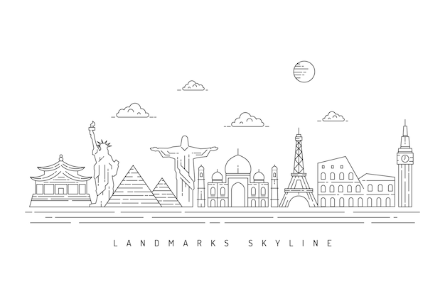 Monochrome outline landmarks skyline design Free Vector