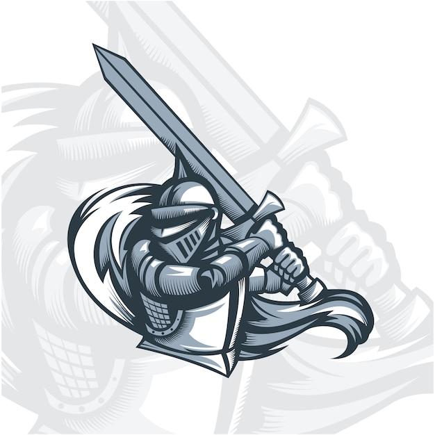Monochrome paladin knight with sword. Premium Vector
