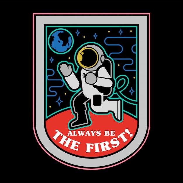 Монохромный патч значок наклейка булавка первая посадка человека на планету марс из космоса. космическая колонизация обнаружит миссию. Premium векторы