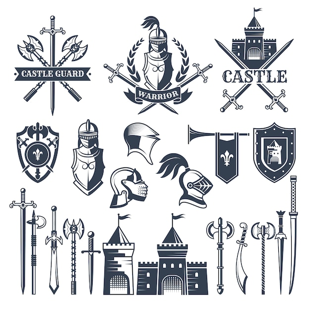 Monochrome pictures and badges of medieval knight theme. Premium Vector