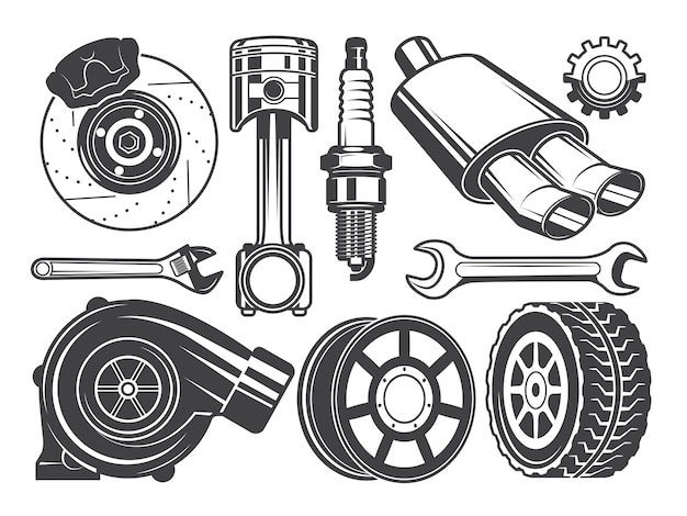 Monochrome pictures of engine, turbocharger cylinder and other automobile tools Premium Vector