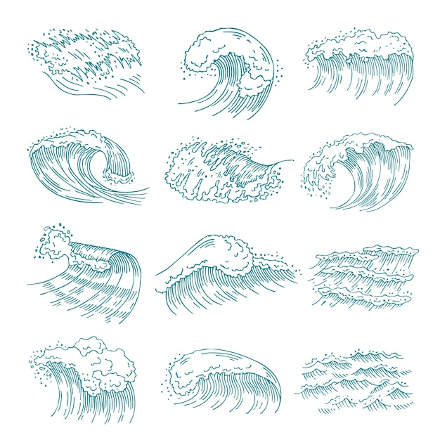 Monochrome pictures set of marine waves with different splashes. Premium Vector