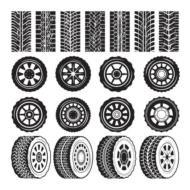 Monochrome pictures with wheels and tyres protector Premium Vector