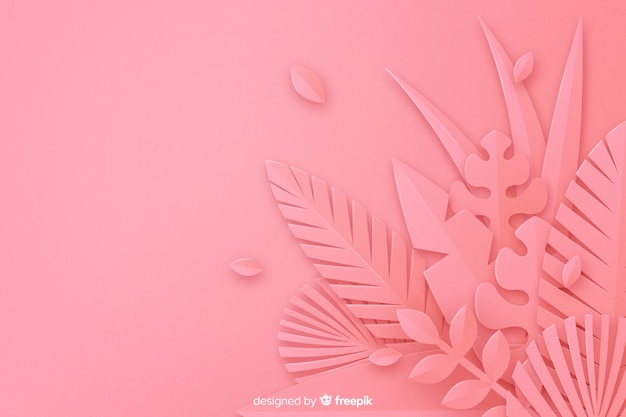 Monochrome pink leaves background Free Vector