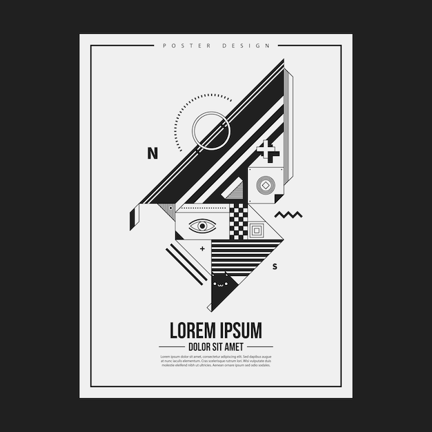 Monochrome poster design template with abstract geometric creature. useful for advertising. Premium Vector