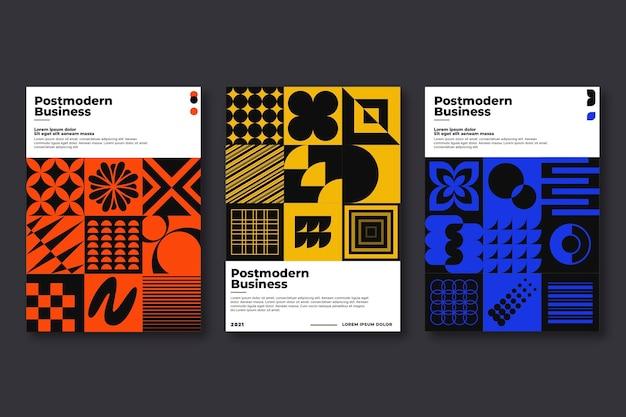 Collezione di copertine aziendali postmoderne monocromatiche Vettore gratuito