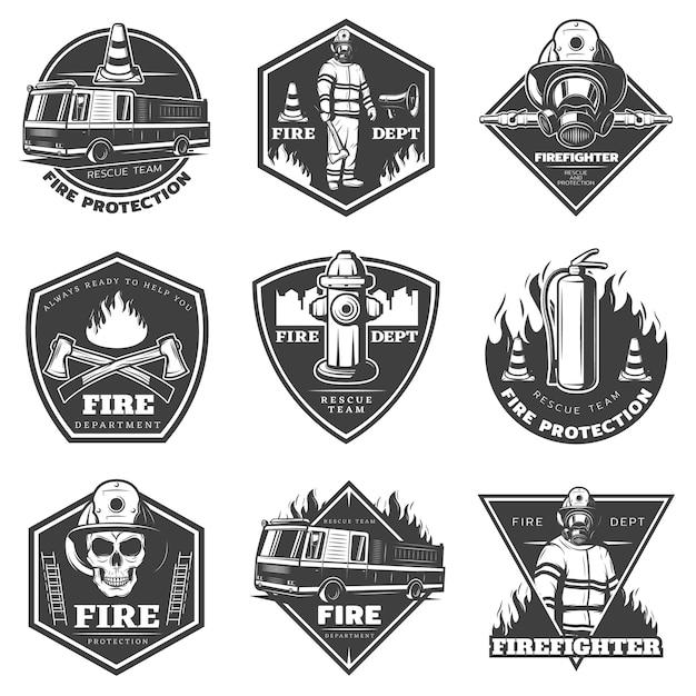 Set di loghi antincendio professionale monocromatico Vettore gratuito