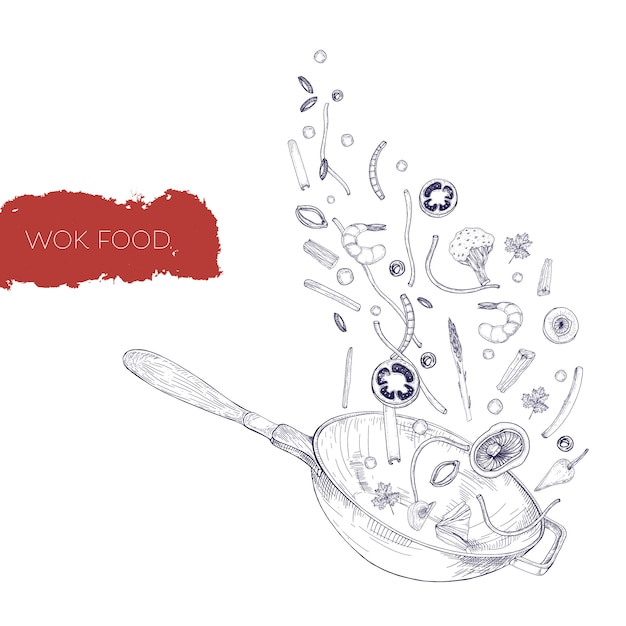 Monochrome realistic drawing of wok pan and vegetables, mushrooms, noodles, spices frying and tossing up. chinese cooking vessel hand drawn in antique style with contour lines. illustration. Premium Vector