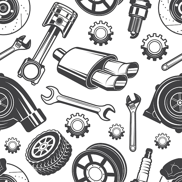 Monochrome seamless pattern with automobile tools and details. parts for repair car pattern, detail brake and spark, vector illustration Premium Vector