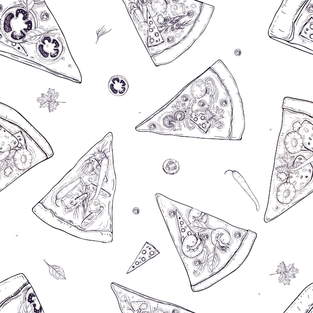 Monochrome seamless pattern with slices of different pizza types and ingredients scattered around on white background. illustration for restaurant or pizzeria menu, delivery service. Premium Vector