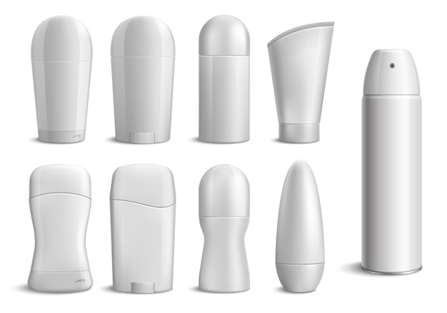 Monochrome set of realistic deodorant bottles of different shapes on white  isolated Free Vector