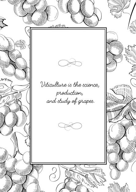 Composizione cornice quadrata monocromatica con grappoli d'uva Vettore gratuito