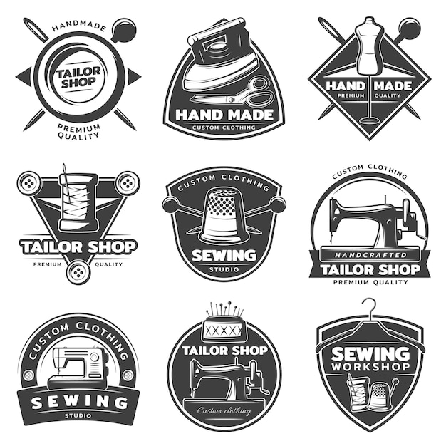 Monochrome tailor badge collection Free Vector