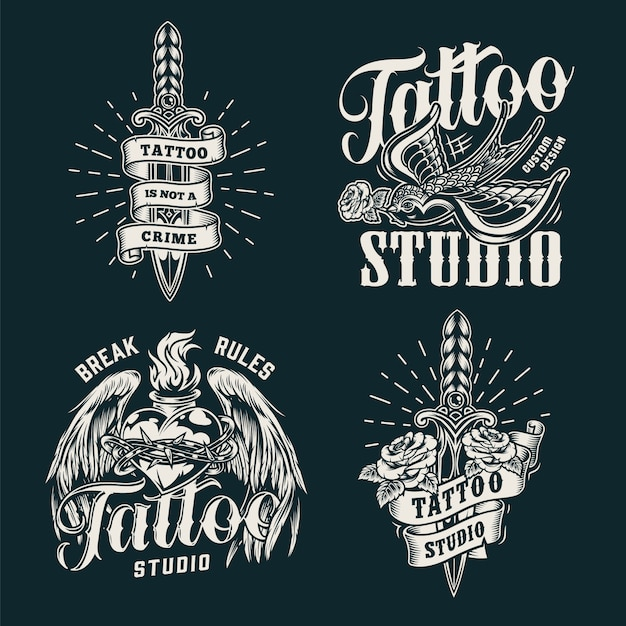 Monochrome tattoo salon prints Free Vector