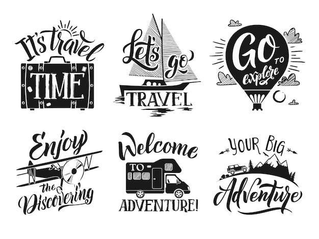 Monochrome travel labels set with hand writing words and letters. adventure vector symbols Premium Vector