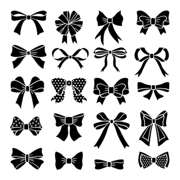 Monochrome vector bows and ribbons set. holiday illustrations isolate Premium Vector