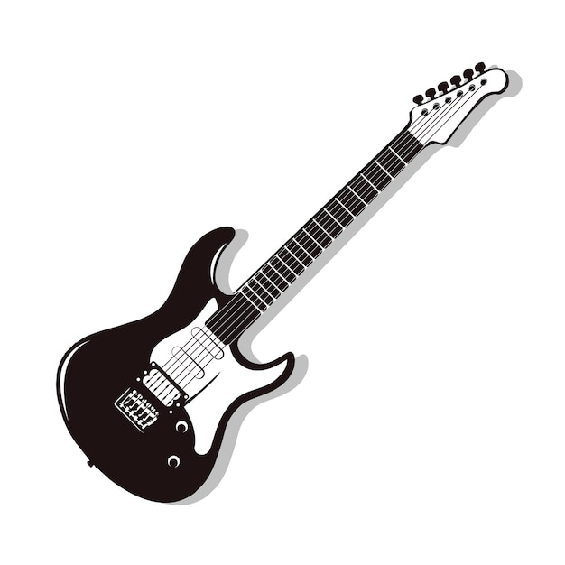 Monochrome vector electric guitar. rock guitar isolated on white Premium Vector