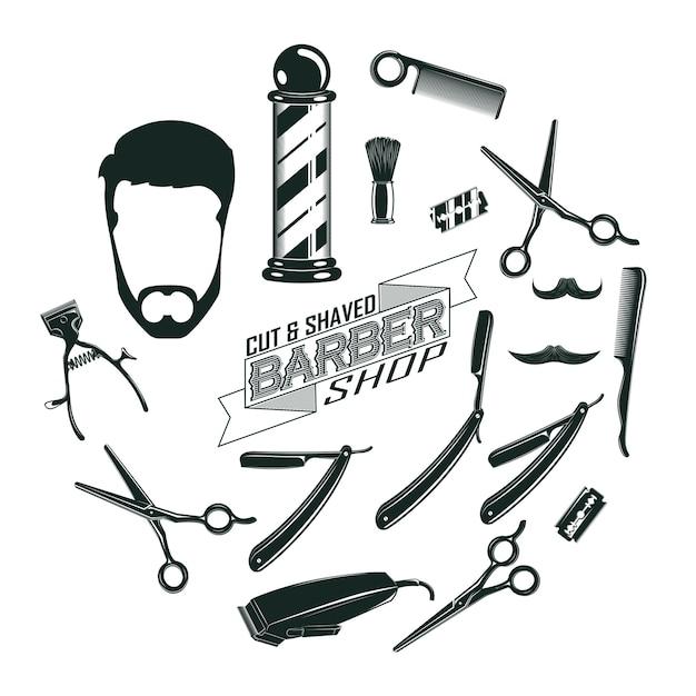 Monochrome vintage barber shop elements concept Free Vector