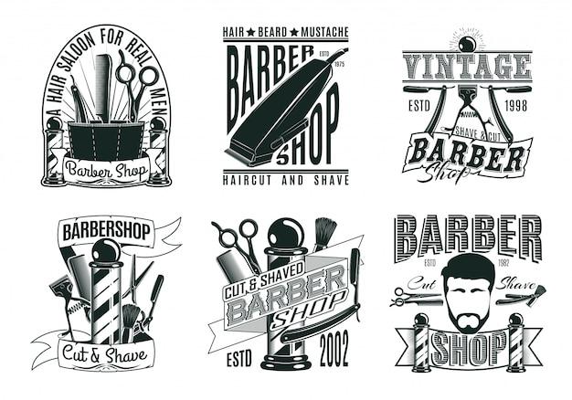 モノクロのビンテージ理髪店のロゴセット 無料ベクター