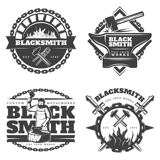 Monochrome vintage blacksmith emblems set Free Vector