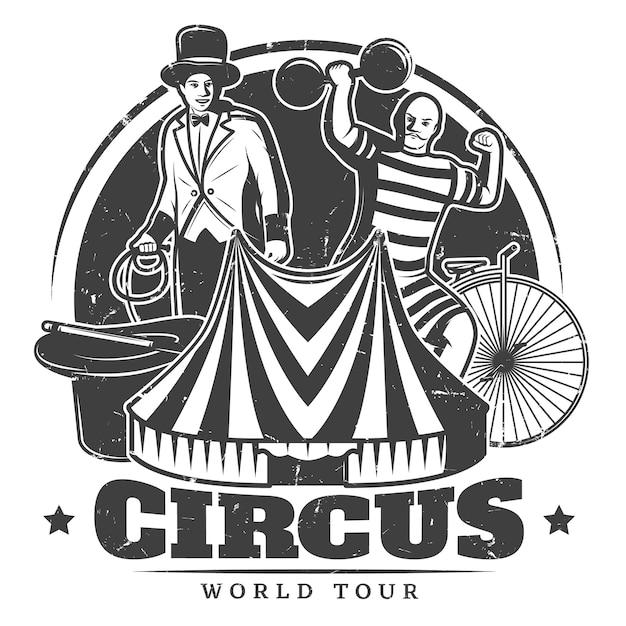 Монохромный старинный цирк шаблон Бесплатные векторы