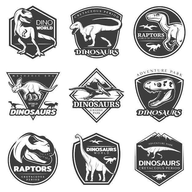 Monochrome vintage dinosaur logos set Free Vector