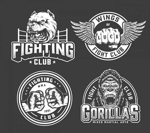Monochrome vintage fighting badges Free Vector
