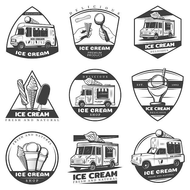Набор наклеек монохромный старинные мороженого Бесплатные векторы