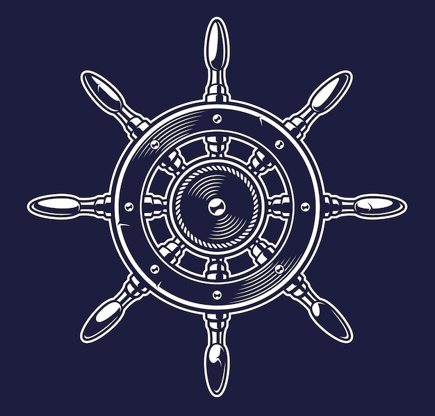 Monochrome vintage illustration of a ship's wheel on the dark background Premium Vector