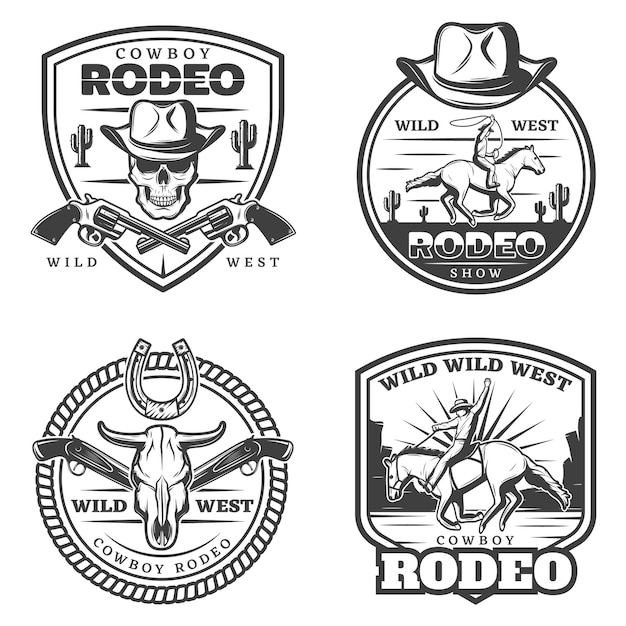 Monochrome vintage rodeo logos set Free Vector